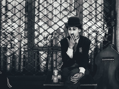 Charlie Chaplin takes a break