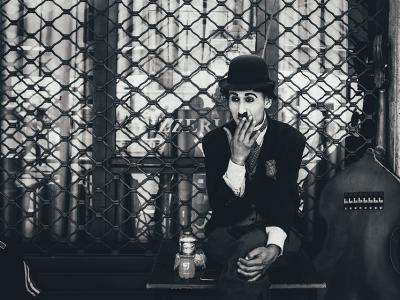 Charlie Chaplin takes a break